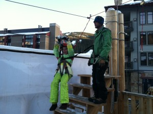 Zip-lining over the ice rink