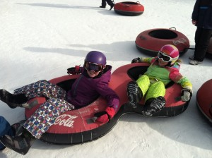 Taking a break from the airborne action for some land-based tubing.